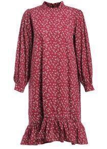 Stand Collar Flower Print Fishtail Hem Red Dress