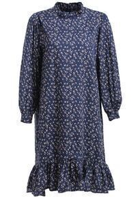 Stand Collar Flower Print Fishtail Hem Navy Dress