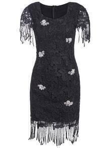 Square Neck Wtih Bead Tassel Lace Dress