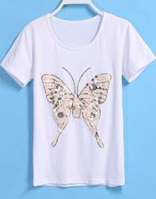 With Sequined Butterfly Pattern T-shirt