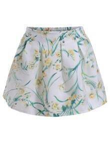 Elastic Waist Pastel Floral Print Skirt