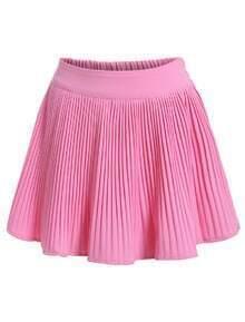 Elastic Waist Pleated Pink Skirt