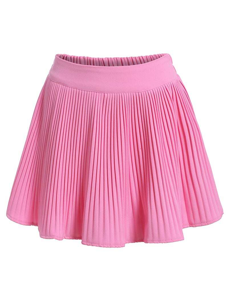 elastic waist pleated pink skirt