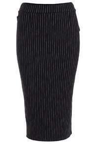 Vertical Striped Split Back Black Skirt