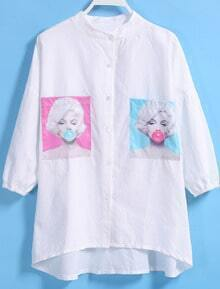Dip Hem With Pocket Monroe Blowing Bubbles Print Blouse