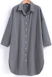 Lapel Vertical Striped Solit Side Blouse