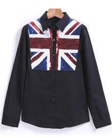 With Sequined Union Jack Pattern Black Blouse