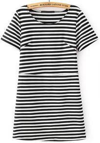 Black White Short Sleeve Striped Pocket Dress