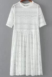 White Short Sleeve Lace Pleated Dress