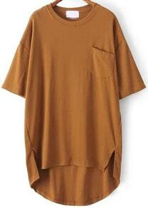Yellow Pocket Split Dip Hem T-Shirt