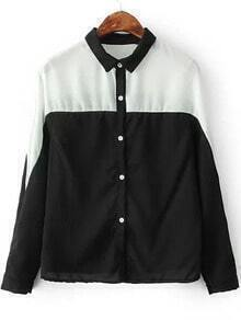 White and Black Lapel Buttons Loose Blouse