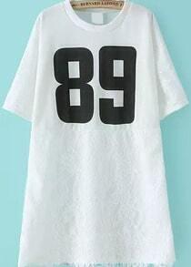 Number Print Irregular Lace Hem White T-shirt