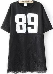 Number Print Irregular Lace Hem Black T-shirt