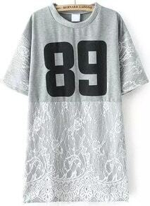 Number Print Irregular Lace Hem Grey T-shirt