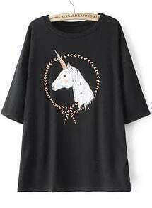 Round Neck Horse Print Black T-shirt