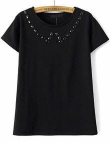 With Bead Round Neck Black T-shirt