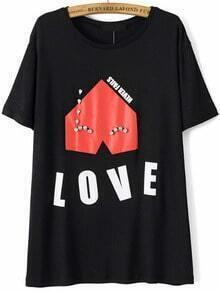 With Bead Love Print T-shirt