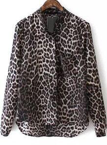 Stand Collar Dip Hem Leopard Print Blouse