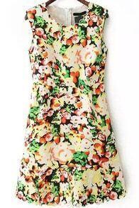 Sleeveless With Zipper Floral Irregular Hem Dress
