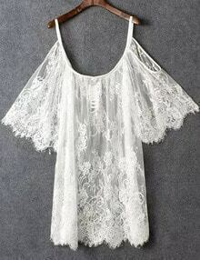 Off The Shoulder Lace Crochet Loose White Dress