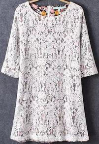 With Zipper Lace Crochet Shift Dress
