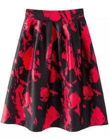 With Zipper Vintage Print Pleated Red Skirt