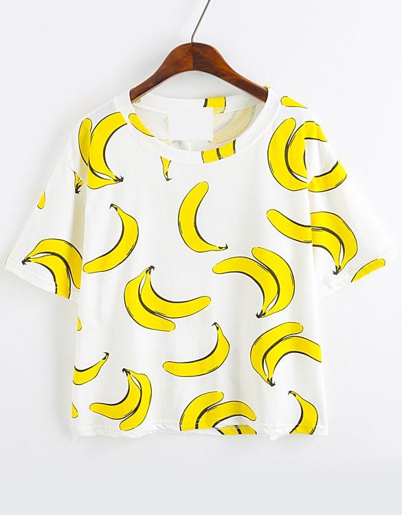 Banana Print Loose T Shirtfor Women Romwe