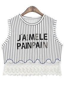 Vertical Stripe Bead Lace Hem Black T-Shirt