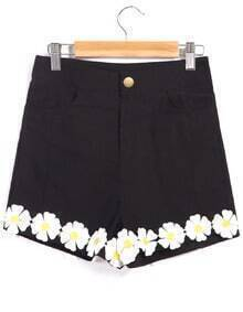High Waist Daisy Embellished Black Shorts