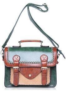 Colour-block Weave PU Bag
