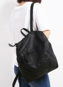 Black Vintage Buckle PU Backpack