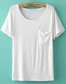 Round Neck With Pocket White T-shirt
