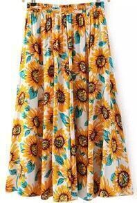 Elastic Waist Floral Pleated Yellow Skirt