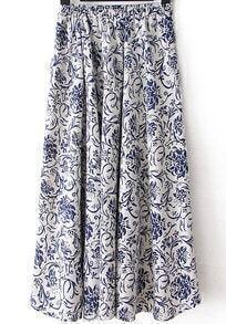 Elastic Waist Flower Print Pleated Blue Skirt