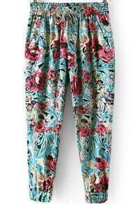 Elastic Waist With Pockets Florals Green Pant