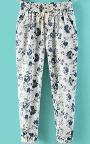 Elastic Waist With Pockets Florals White Pant