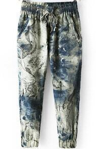 Elastic Waist With Pockets Ink Painting Print Pant