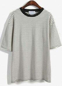 Round Neck Striped Loose White T-Shirt