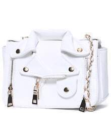 White Zipper Chain PU Bag