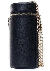 Black Zipper Cylindrical Chain PU Bag
