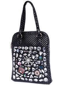 Black Zipper Jewelled PU Shoulder Bag
