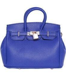 Blue Buckle Lock Embellished PU Tote Bag