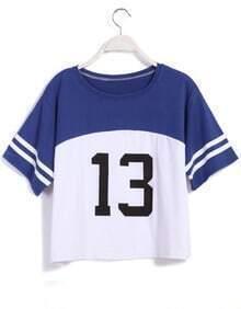 Color-block Number Print Loose T-shirt