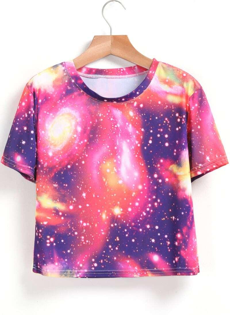Short sleeve galaxy print t shirtfor women romwe for Galaxy white t shirts wholesale