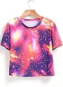 Short Sleeve Galaxy Print T-shirt