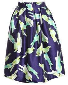 With Zipper Parrot Print Pleated Skirt