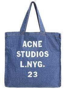 Letter Print Denim Shoulder Bag