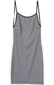 Spaghetti Strap Backless Striped Bodycon Dress