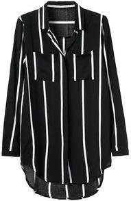 V Neck Dip Hem Vertical Striped Blouse