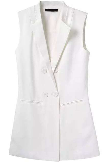 Lapel Double Breasted With Pocket White Vest
